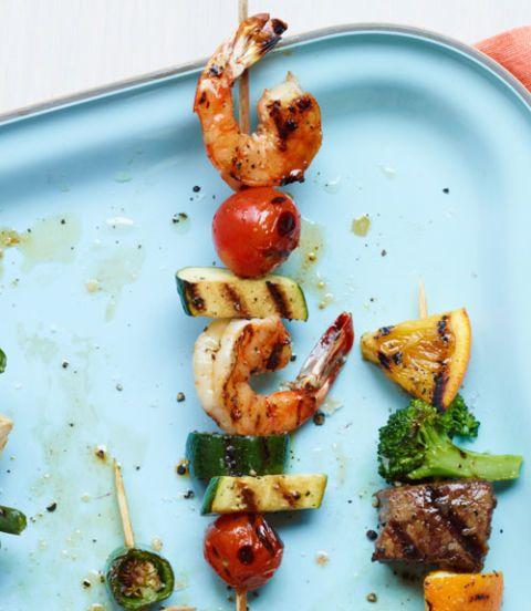 Shrimp, Zucchini & Tomato Kebabs