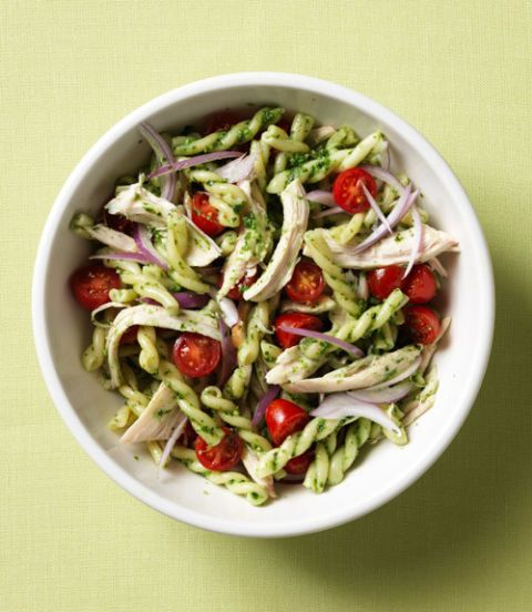 pasta with chicken, vegetables  spinach pesto