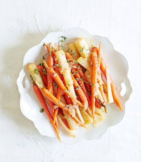 orange braised carrots and parsnips