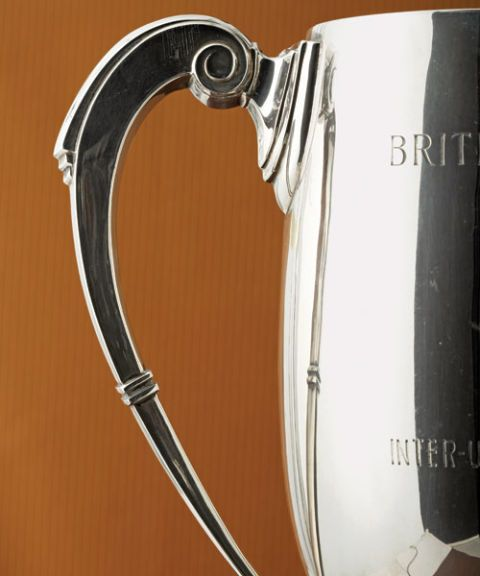art deco handle on silver trophy