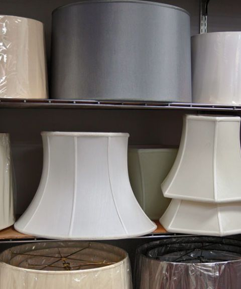 shelves of lampshades