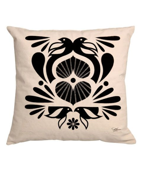 Black & White (and Green) Pillow