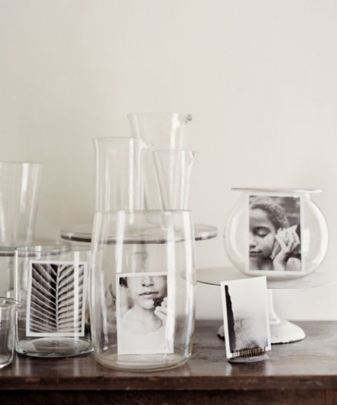 glass vases black and white photos