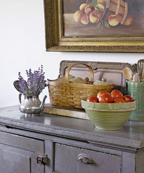 picnic basket flowers in tea kettle kitchen accessories antique