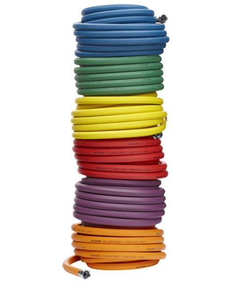 orange purple red yellow green blue coiled garden hoses