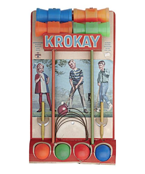 transogram krokay vintage 1960s croquet game original packaging