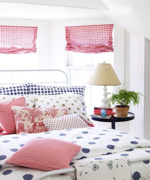 polka dot bedspread and bed