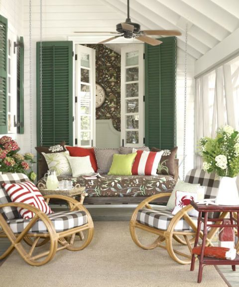 chairs and bench on porch