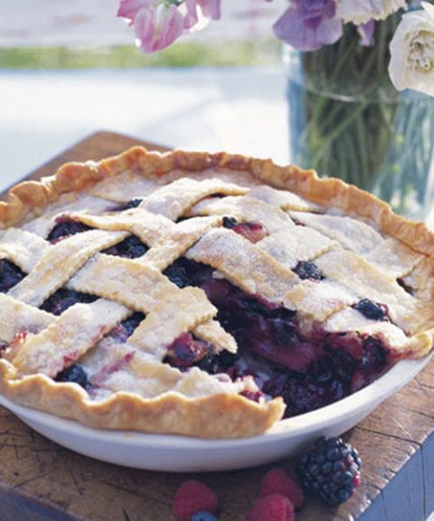 deep dish bumbleberry pie with lattice crust
