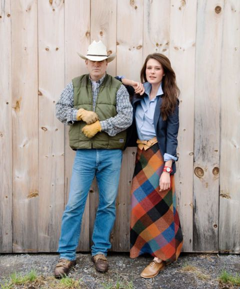 woman in plaid a-line skirt with farmer