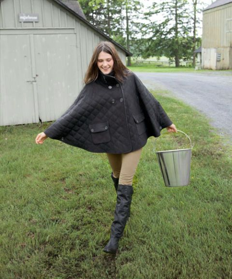 woman in barn jacket cape