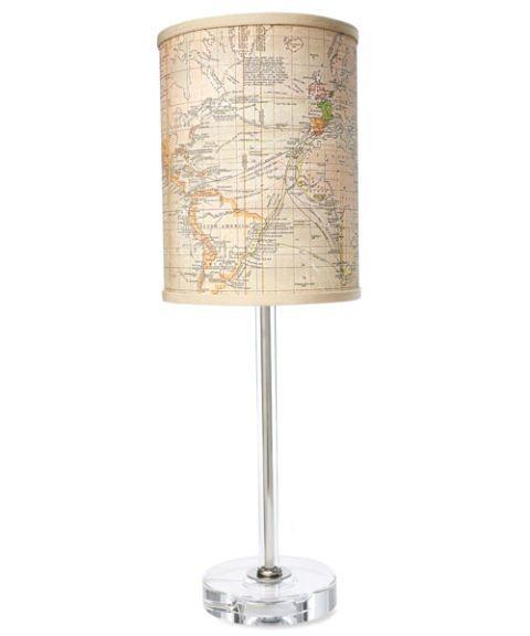 map printed table lamp