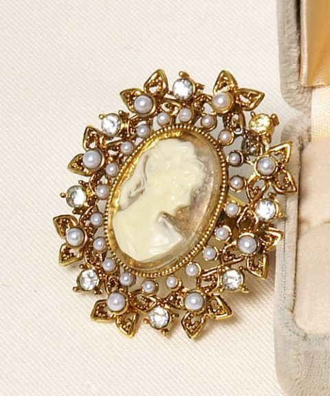 bejeweled cameo ring
