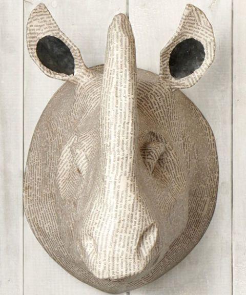 rhino trophy head made of paper