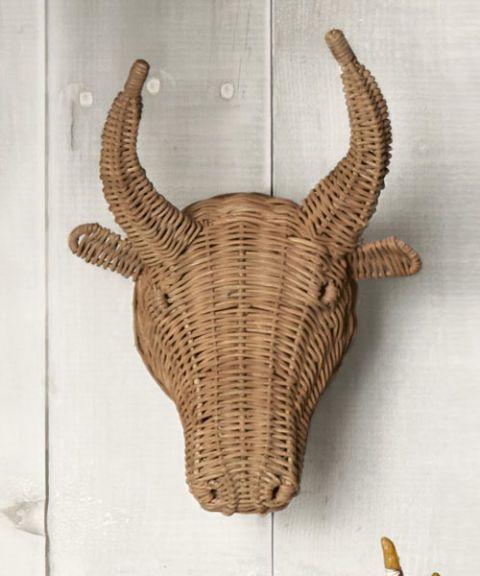 steer woven wicker trophy head