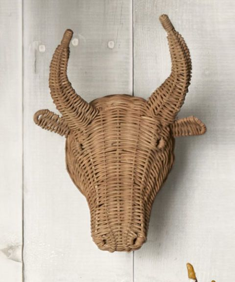 steer woven wicker trophy head