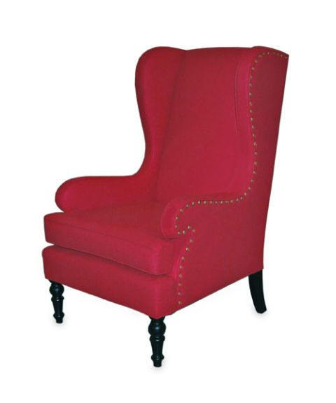 Red Upholstered Wing Chair. Bright Red