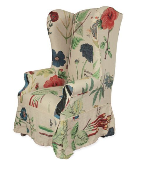 floral upholstered wing chair