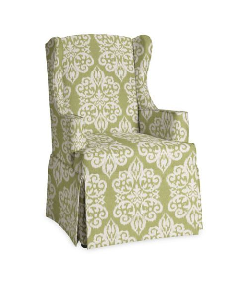 green medallion printed upholstered wing chair