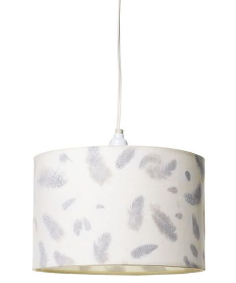 silver and white feather hanging lamp