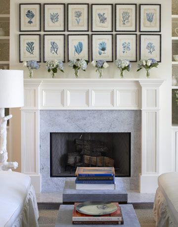 artwork above fireplace