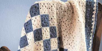 blue hand crocheted afghan from virginia designed by vickie p story