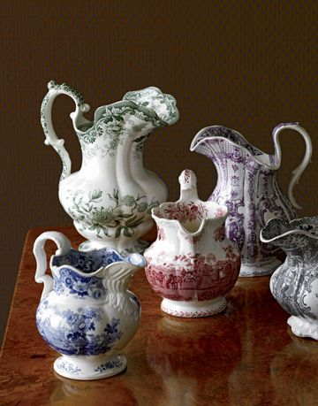 english romantic transferware in green blue purple red and black colors