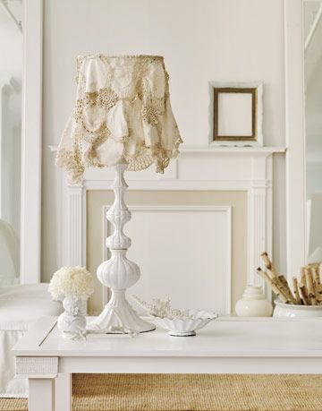 A white lamp with a lampshade covered in draped doilies.