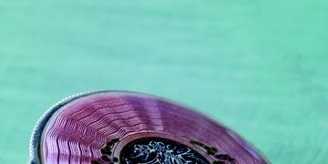 a purple enameled powder compact