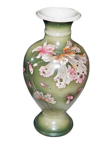 muted green vase with painted flowers