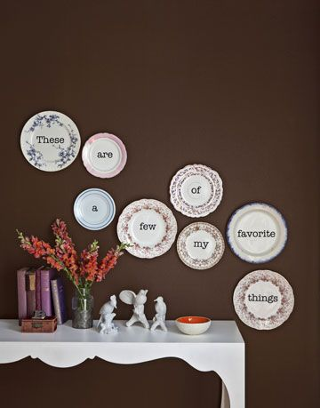 floral trimmed plates with words hung on a wall