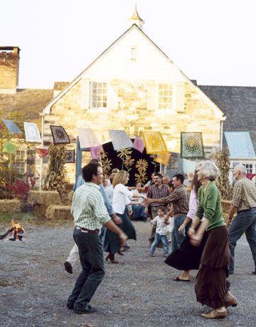 guests dancing at a hoedown