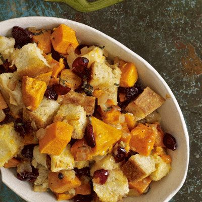 sourdough stuffing with sweet potatoes and cranberries