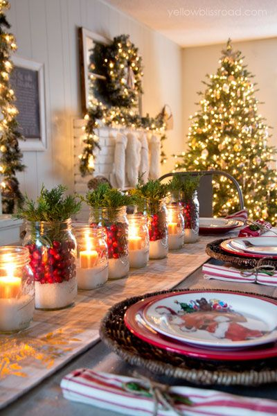 christmas table settings centerpieces mason jars - Christmas Centerpiece Decorations