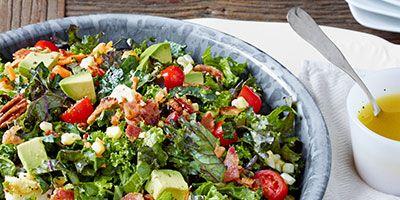 chopped collard and kale salad with lemon garlic dressing