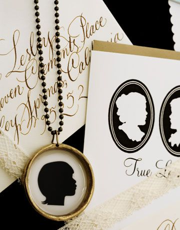 silhouette necklace and notecards