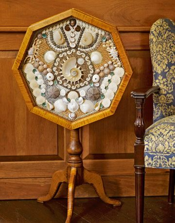 side table decorated with shells
