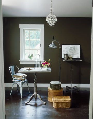 room with brown walls & How to Decorate with Dark Paint - Dark Wall Paint Colors