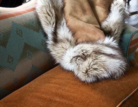 fur blanket on couch