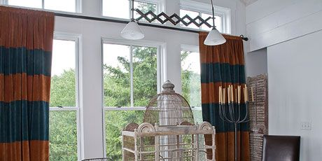 dining room table with birdcage