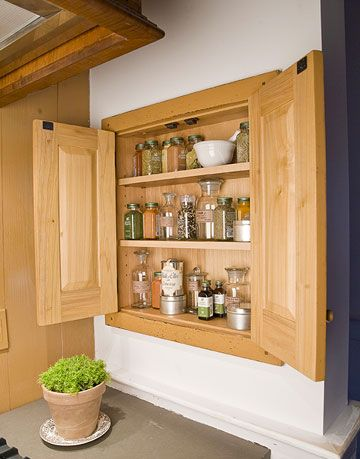 wood spice cabinet