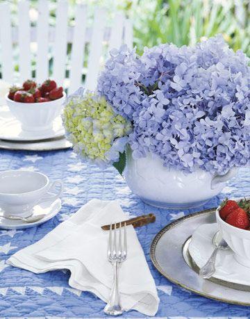 hydrangeas on a table