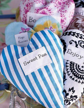heart shaped fabric sachets