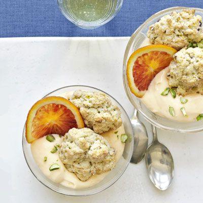 pistachio biscuit and orange curd