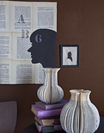 book pages as vases