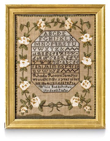 antique cross-stitch sampler