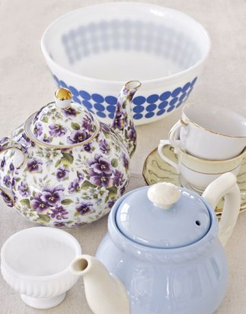 teapots and cups and saucers