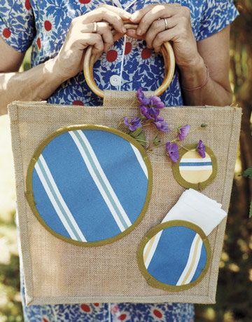 burlap bag with polka dots