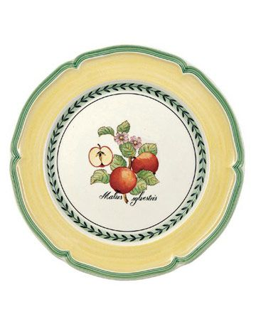 yellow plate with fruit pattern