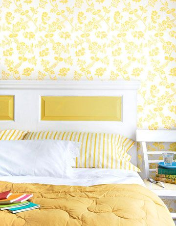 yellow and white bed  sc 1 st  Country Living Magazine & DIY Headboard - How To Make A Headboard From a Door